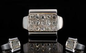 White Gold Diamond Cluster Ring, 15 Old Round Brilliant Cut Diamonds, Pave Set,
