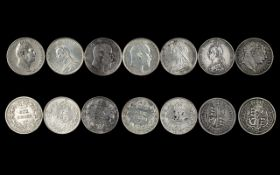 English Collection of Silver Sixpences From George III to Edward VII. Seven (7) coins in total.