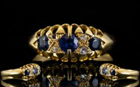 Antique Period - Attractive 18ct Gold Sapphire and Diamond Set Ring, Gallery Set.