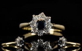 18ct Gold Sapphire and Diamond Set Cluster Ring. Flower head 8 Design.