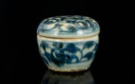 Antique Chinese Ming Dynasty Box And Cover, Blue And White Floral Pattern, Height 2½ Inches.
