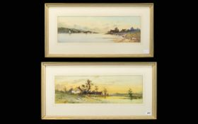 Charles Rousse (exh.1882-85) Pair of River Landscape Watercolours showing cottages on both sides