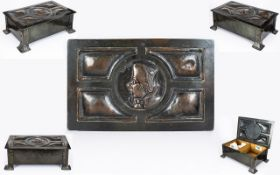 Arts And Crafts Planished Copper Cigarette Box In the Manner Of Liberty & Co.