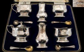 Art Deco Period Superb Quality 6 Piece Silver Condiment Set,