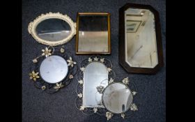 A Mixed Collection Of Mirrors A varied lot, six in total, each fitted for wall mounting,