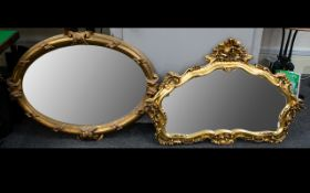 Two Large Gilt Framed Overmantle Mirrors Each of large proportions to include baroque style