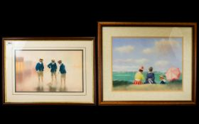 James A Tytler A Pair Of Original Chalk Pastels On Paper The first depicting three Edwardian boys