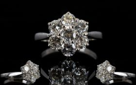 18ct White Gold 7 Stone Diamond Set Cluster Ring of Flower head Design.