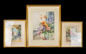 Penny Ward, Three Framed And Glazed Watercolours, 2 Floral Still Life's And A Garden Setting, All