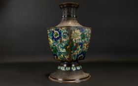Early 20th Century Bronzed Chinese Sectional Cloisonne Vase Enamelled floral pattern with chased