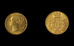 Victoria 22ct Gold Young Head / Shield Back Full Sovereign. Date 1878 - Sydney Mint.