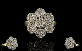 18ct Gold - Attractive Diamond Set Cluster Ring, Flower head Design. Fully Hallmarked, The
