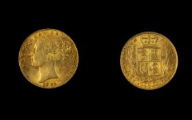 Victoria 22ct Gold Young Head / Shield Back Full Sovereign. Date 1869, DIE Number 40, London Mint.