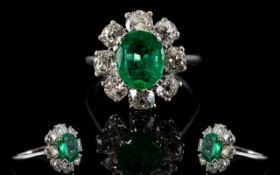 18ct White Gold Diamond & Emerald Cluster Ring Oval Green Emerald Surrounded By 8 Round Cut