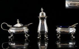 Elizabeth II Matched 3 Piece Silver Cruet Set comprises Pepperette, Salt & Mustard Pot,