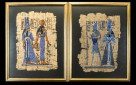 A Pair Of Framed Papyri Two modern framed and glazed images,