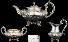 William IV Scottish - Fine Quality Repousse Silver 3 Piece Tea Service Of Superb Quality and Solid