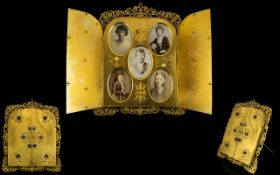 Thomas Agnew & Sons Victorian Gothic Revival Brass Open Door Picture Frame With Banded Agate