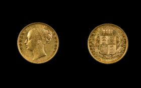 Victoria 22ct Gold Young Head - Shield Back Full Sovereign. Date 1871, DIE Number 34 - London Mint.