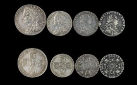 A Small Collection of George II and George III English Silver One Shillings and Sixpences - 4