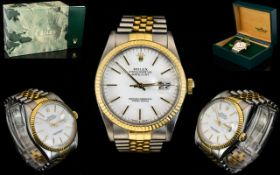 Rolex - 18ct Gold and Stainless Steel Oyster Perpetual Date-Just Gents Superlative Chronometer