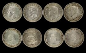 South American George VI Silver Crown ( Five Shilling ) 4 Coins In Total.