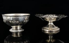 Victorian Period Embossed Silver Christening Bowl Decorated with Embossed Images of Pineapples /