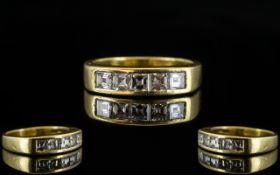 Ladies - Channel Set 18ct Gold Five Stone Diamond Set Ring, The Princess Cut Diamonds of Top Colour.