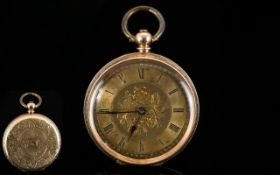 Ladies - Antique Period 9ct Gold Case - Small Key-wind Open Faced Pocket Watch with Ornate Gold