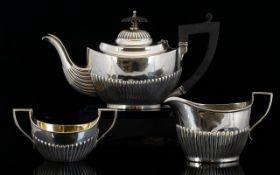 Edwardian Period Bachelors 3 Piece Silver Tea Service, Ribbed Half Bodies - Good Shape.