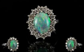 18ct White Gold Opal and Diamond Set Cluster Ring, Flower head Setting,