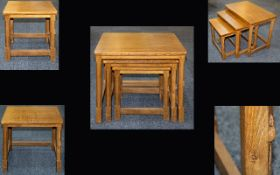 Robert Thompson 'Mouseman' Superb Quality Hand Carved Nest of Three Graduated Tables in Golden Oak.