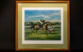 Equestrian Interest Limited Edition Artist Signed Print 'Lester Piggott Up' By Claire Eva Burton