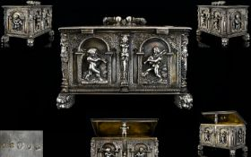 A German Augsberg Silver Jewellery Casket After Peter Flötner (1490 - 1546) Panelled and pinned