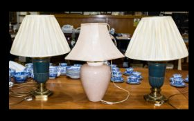 A Pair Of Neoclassical Style Table Lamps Each with verdigris tone urn form on hexagonal brass base,