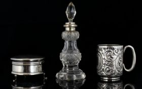 A Collection of Antique Silver Items ( 3 ) In Total.