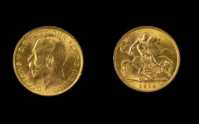 George V 22ct Gold Half Sovereign. Good Grade. Date 1914, London Mint. Please See Photo for Grade.