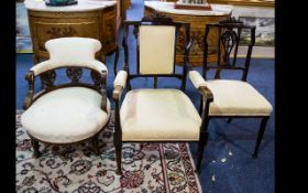 A Collection of Three Occasional Chairs to include ladies tub chair, salon arm chair and salon