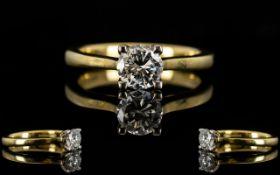 Ladies Superb Quality 18ct Gold Single Stone Diamond Dress Ring,
