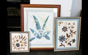 Three Framed Prints And Floral Collages to include print depicting orchids, along with two