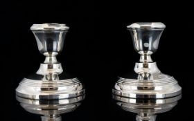 Art Deco Period Pair of Silver Squat Candlesticks with Reeded Band Decoration to Circular Bases.