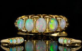 18ct Gold Nice Quality and Attractive 5 Stone Opal Gallery Set Dress Ring,