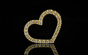 Attractive - 14ct Gold Diamond Set Heart Shaped Pendant Drop of Excellent Quality.