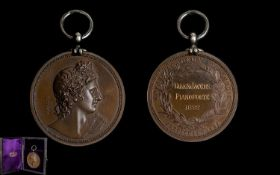 Georgian Period Royal Academy Of Music Bronze Prize Medal, marked B. Wyon. F. 1822, designer.