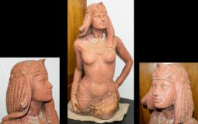 Terracotta Bust In The Form Of An Ancient Egyptian Goddess Contemporary figure depicting head and