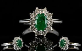 Ladies - Nice Quality Diamond and Emerald Set Cluster Ring, Flower head Design,