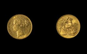 Victoria Young Head 22ct Gold Full Sovereign. Date 1881, Melbourne Mint, Australia. High Grade Coin.