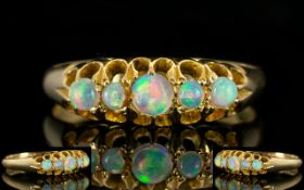 Edwardian Period Attractive Gallery Set 5 Stone Opal Set Dress Ring,