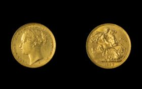 Victoria Young Head 22ct Gold Full Sovereign - Date 1883. Melbourne Mint, Australia.