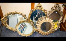 A Mixed Collection Of Gilt Framed Mirrors Five in total,